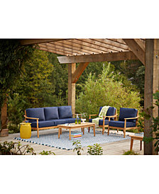 Savona Teak Outdoor 4-Pc. Seating Set (Sofa, 2 Club Chairs & Coffee Table) with Sunbrella® Cushions