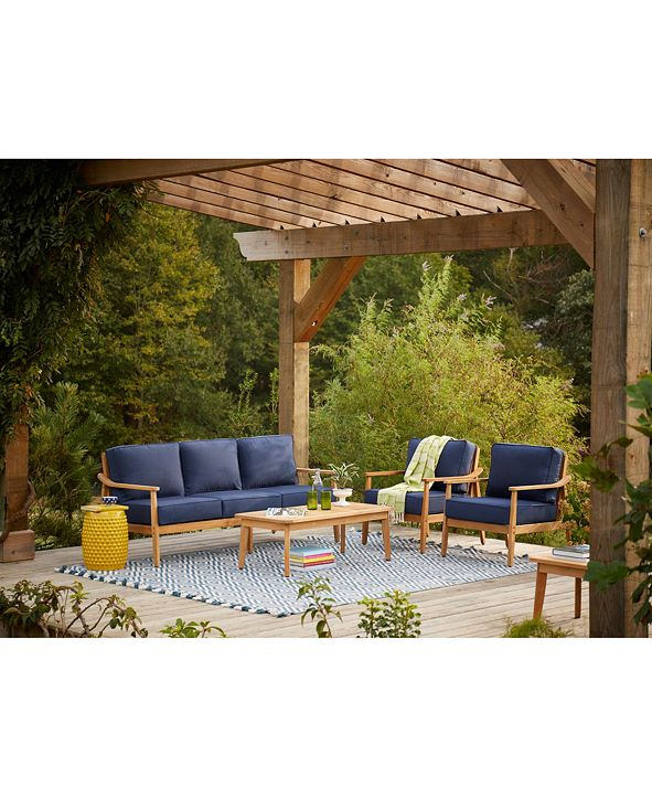 Furniture Savona Teak Outdoor 4-Pc. Seating Set (Sofa, 2 Club Chairs & Coffee Table) with Sunbrella® Cushions