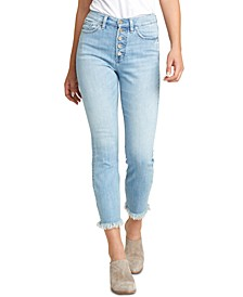 Calley Button-Fly Skinny Jeans