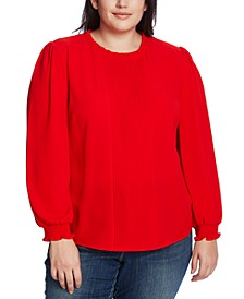 Plus Size Ruffled Pintucked Top