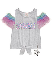 Big Girls 2-Pc. Ruffled Flip Sequin Cold-Shoulder Top & Keychain
