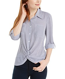 Juniors' Striped Knot-Hem Top