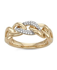 Diamond (1/10 ct. t.w.) Link Ring in 14K Yellow Gold