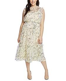 Plus Size Wisteria Vines Ruffled Midi Dress