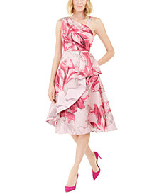 Adrianna Papell Printed Mikado Midi Dress