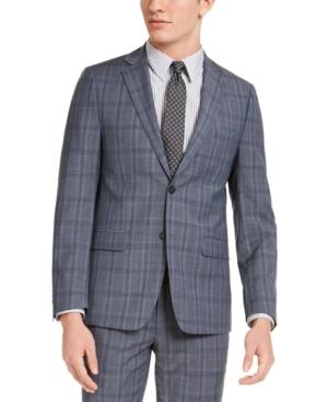 Calvin Klein Men's Skinny-Fit Gray/Blue Plaid Suit Jacket