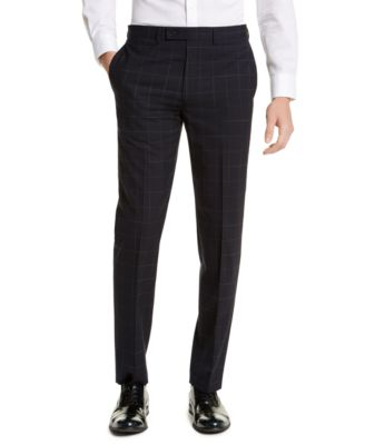 Men's X-Fit Extra-Slim Fit Infinite Stretch Navy Blue Windowpane Suit Pants