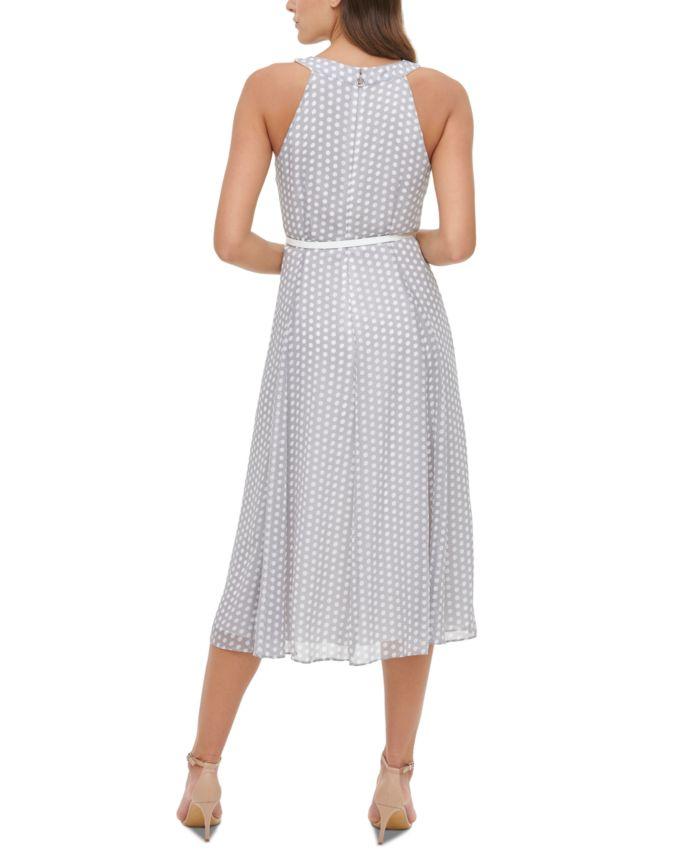 Tommy Hilfiger Belted Chiffon Midi Dress & Reviews - Dresses - Women - Macy's