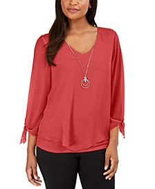 Petite Chiffon Tie-Cuff Top, Created for Macy's