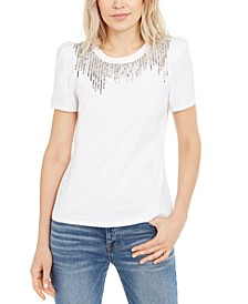 INC Petite Sequin-Fringe Cotton T-Shirt, Created for Macy's