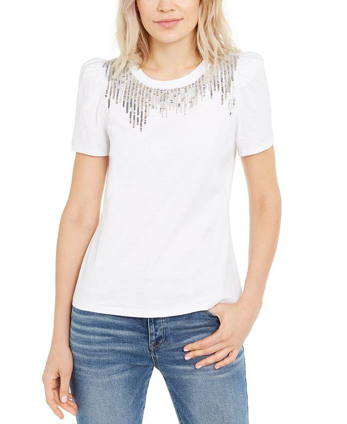 INC International Concepts - Sequin-Fringe T-Shirt