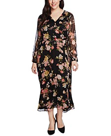 Plus Size Beautiful Blooms Faux-Wrap Midi Dress