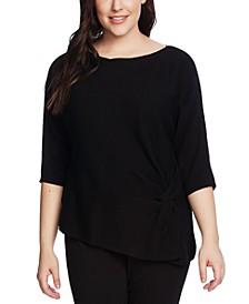 Plus Size Side-Twist Ribbed Sweater