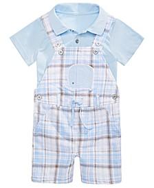 Baby Boys 2-Pc. Shirt & Plaid Elephant Shortalls Set, Created for Macy's