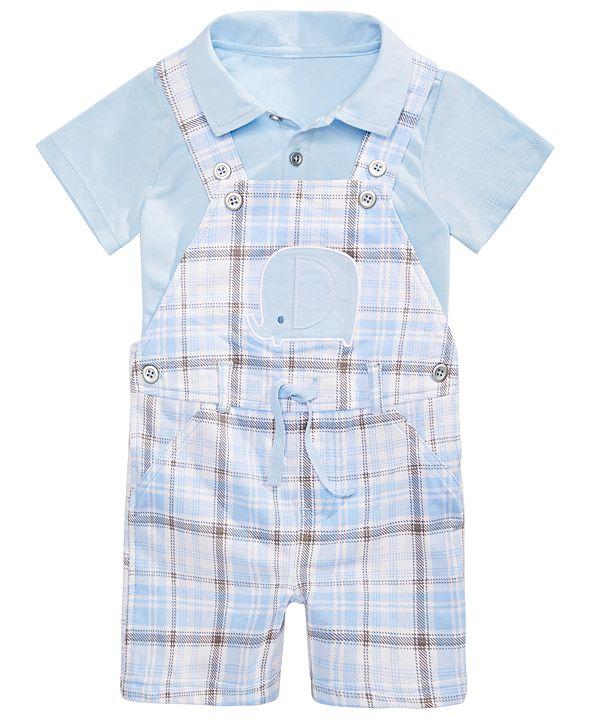 First Impressions Baby Boys 2-Pc. Shirt & Plaid Elephant Shortalls Set, Created for Macy's