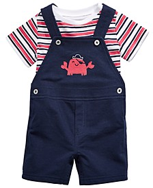 Baby Boys 2-Pc. Striped T-Shirt & Crab Shortalls Set, Created for Macy's