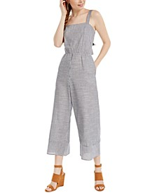 Juniors' Striped Tie-Back Jumpsuit