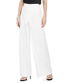 Crepe Draped-Front Wide-Leg Pants