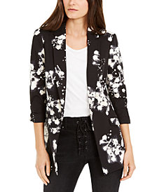 INC Floral-Print Kiss-Front Blazer, Created for Macy's