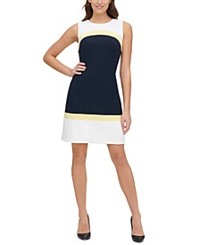 Petite Scuba Colorblocked A-Line Dress