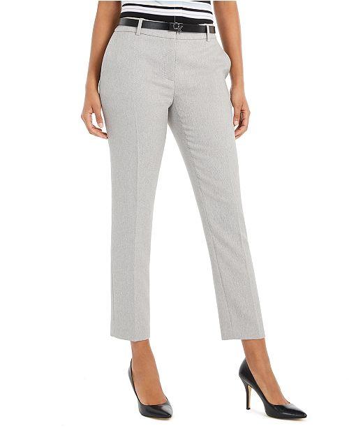 Calvin Klein Petite Slim-Ankle Belted Pants