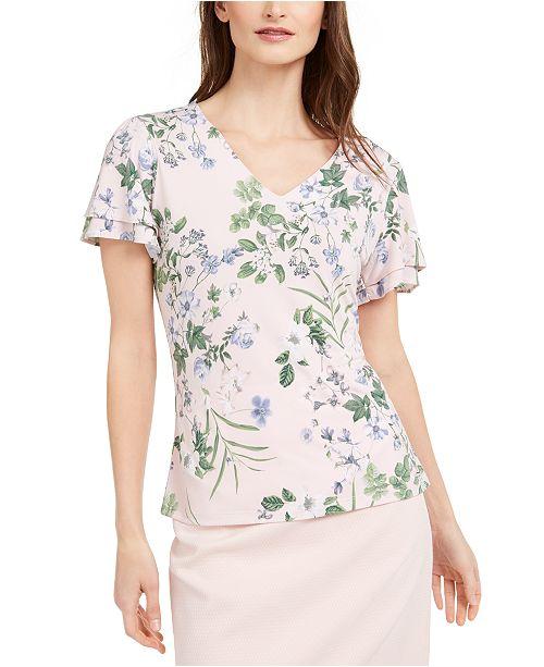 Calvin Klein Petite Double Flutter-Sleeve Top