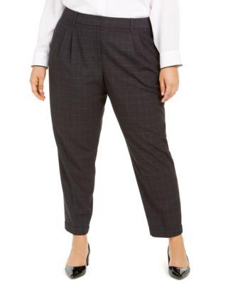 Plus-Size Straight-Leg Windowpane Dress Pants