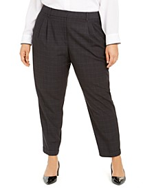 Plus-Size Straight-Leg Windowpane Dress Pants