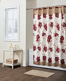 Poinsettia Shower Curtain with Hook Set