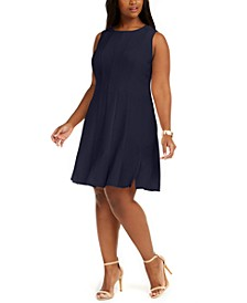 Plus Size Pleated Fit & Flare Dress