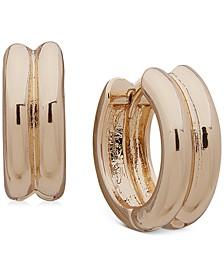 """Gold-Tone Small Tubular Double-Row Clip-On Huggie Hoop Earrings, 0.75"""""""