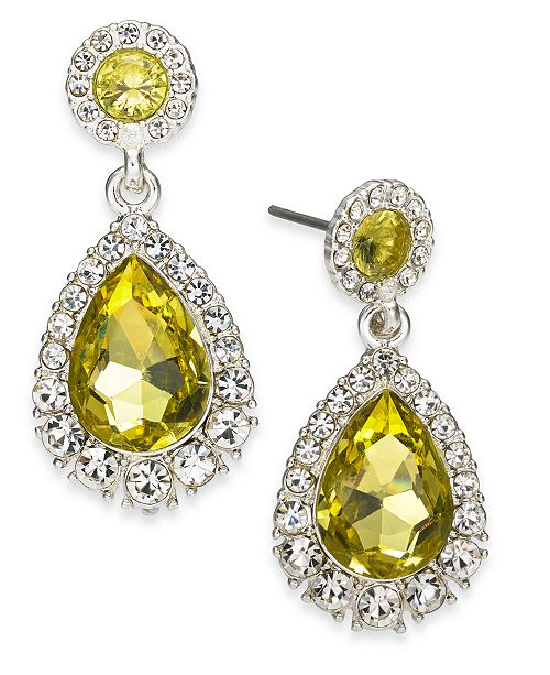 Charter Club Gold-Tone Pavé & Stone Drop Earrings, Created for Macy's