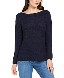 Petite Slub-Knit Pullover Sweater, Created for Macy's