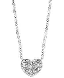 "EFFY® Diamond Pavé Heart 18"" Pendant Necklace (1/8 ct. t.w.) in Sterling Silver"