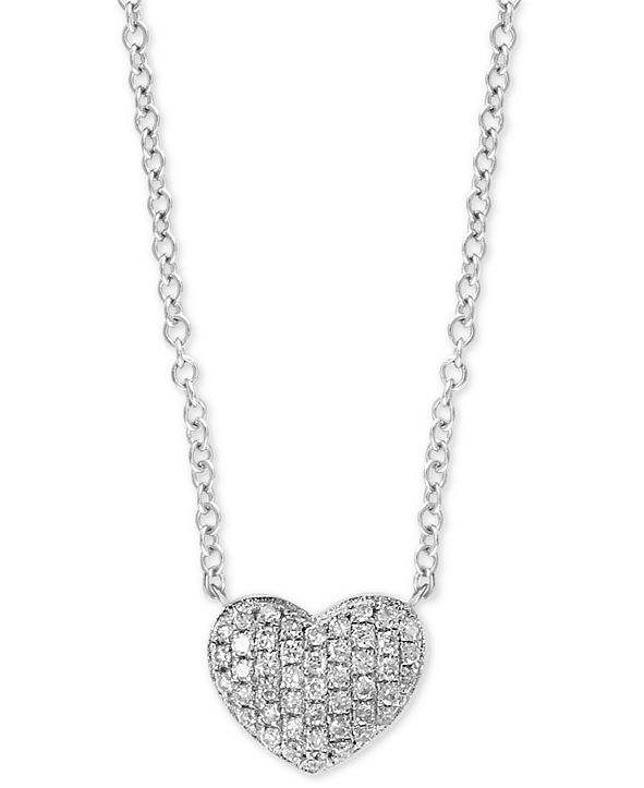 """EFFY Collection EFFY® Diamond Pavé Heart 18"""" Pendant Necklace (1/8 ct. t.w.) in Sterling Silver"""