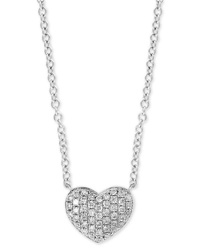 "EFFY Collection - Diamond Pavé Heart 18"" Pendant Necklace (1/8 ct. t.w.) in Sterling Silver"