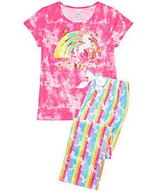 Max & Olivia Big Girls 2-Pc. Tie-Dye Rainbow Unicorn Pajamas Set