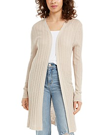 Juniors' Ribbed Open-Front Cardigan