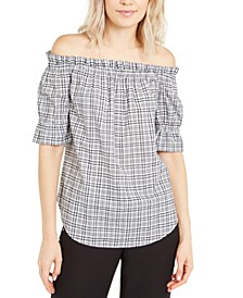 Checked Off-The-Shoulder Top