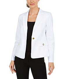 Petite Single-Button Grommet Blazer