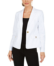 Calvin Klein Petite Single-Button Grommet Blazer