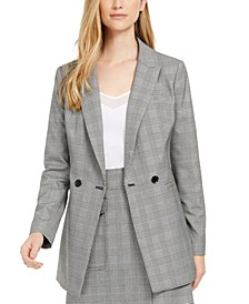 X-Fit Slim-Fit Plaid Double-Breasted Blazer