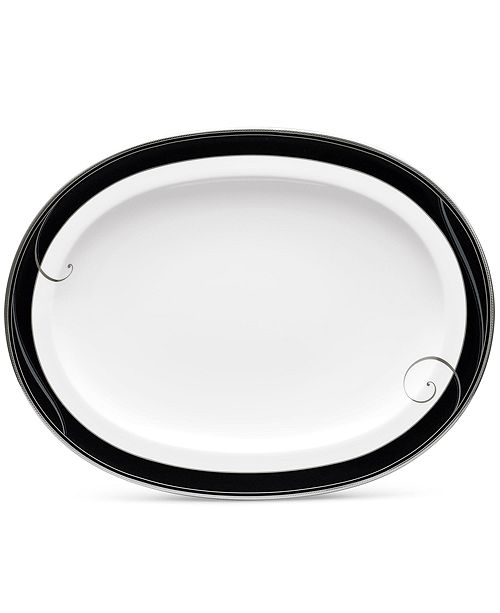 "Noritake Platinum Wave Ebony Oval Platter, 14"""