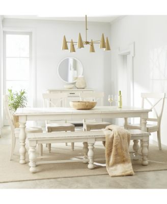 Aberdeen Worn White Expandable Dining Furniture, 6-Pc. Set (Table, 4 Side Chairs & Bench)