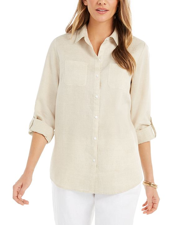 Charter Club Petite Linen Button-Front Shirt, Created for Macy's
