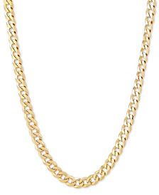 "Flat Curb Link 24"" Chain Necklace in 18k Gold-Plated Sterling Silver"