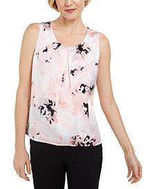 Kasper Petite Floral-Print Pleated Sleeveless Top