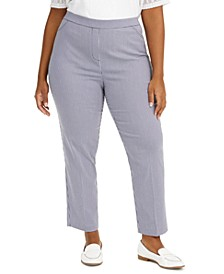 Plus Size Easy Street Checked Pull-On Pants