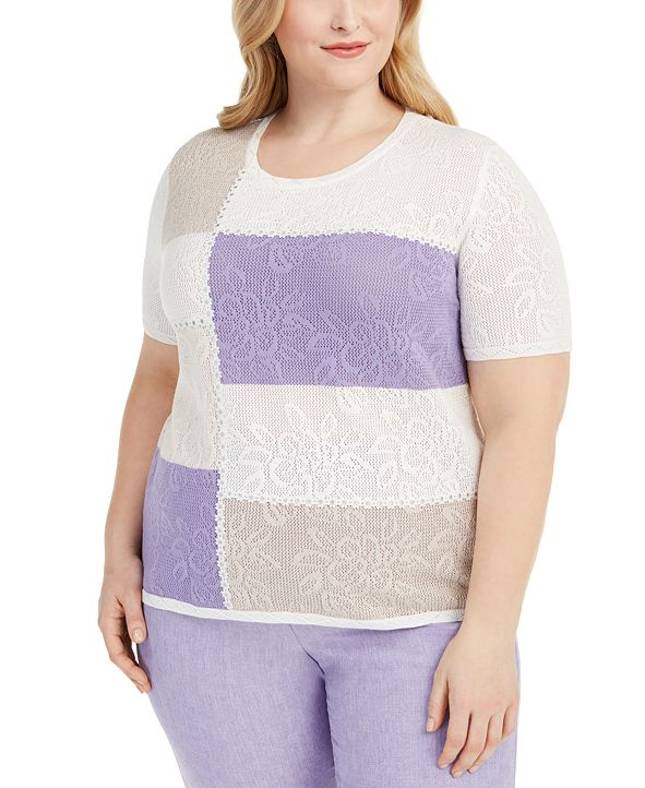 Alfred Dunner Plus Size Nantucket Colorblocked Top