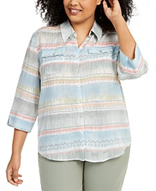 Plus Size Chesapeake Bay Printed Button-Front Top